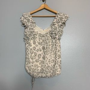 REBECCA TAYLOR   cheetah print ruffle blouse 0